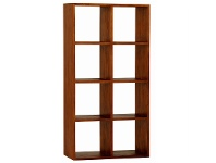 LivingStyles Eduard Solid Mahogany Timber Display Shelf, Light Pecan