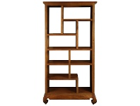 LivingStyles Liam Solid Mahogany Timber Display Shelf / Room Divider, Light Pecan
