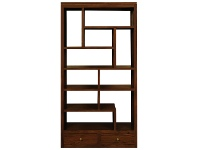 LivingStyles Pagama Solid Mahogany Timber Display Shelf / Room Divider with Drawers, Mahogany