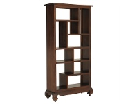 LivingStyles Liam Solid Mahogany Timber Display Shelf / Room Divider, Mahogany