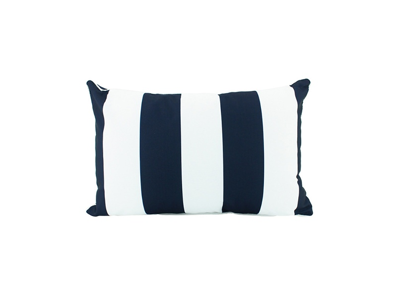 Minell Stripe Indoor / Outdoor Double Sided Lumbar Cushion, Navy