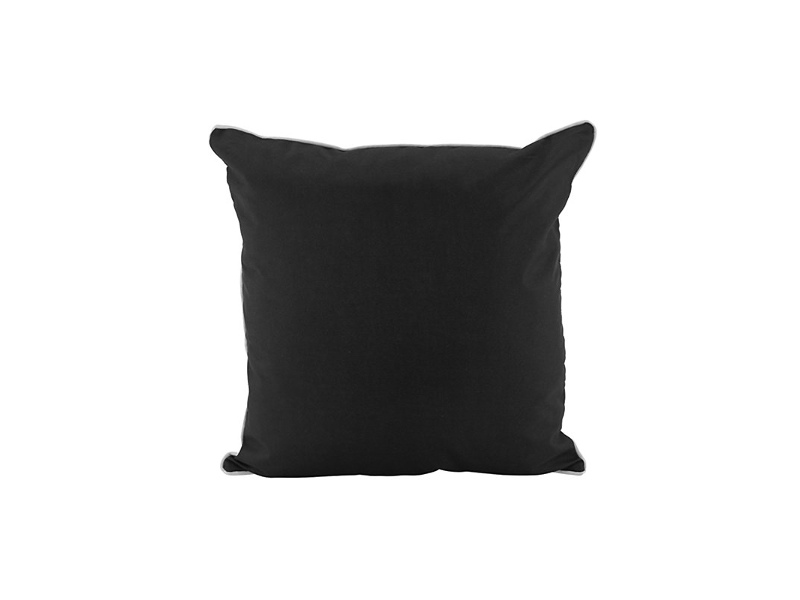 Glenmore Basic Outdoor Scatter Cushion, Black with white trim