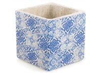 LivingStyles Tangiers Large Cement Planter - Blue