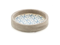 LivingStyles Fez Small Cement Candle Pot / Plate, Blue