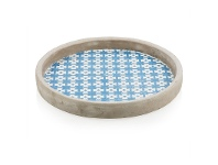 LivingStyles Fez Extra Large Cement Candle Pot / Plate, Blue
