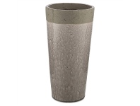LivingStyles Akker Cement and Ceramic Pot Vase, Large, Charcoal