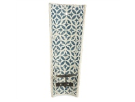 LivingStyles Milawa Ceramic Wall Mount Candle Holder, Blue
