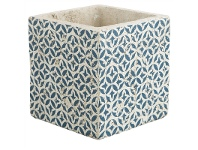 LivingStyles Milawa Ceramic Square Planter, Small, Blue