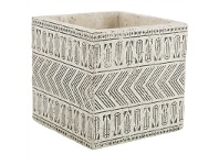LivingStyles Milawa Ceramic Square Planter, Large, Charcoal