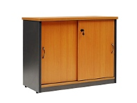 LivingStyles Logan Credenza Cabinet with Locker, 120cm, Beech / Black