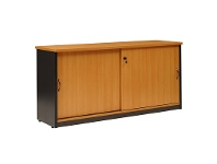 Logan Credenza Cabinet with Locker, 150cm, Beech / Black