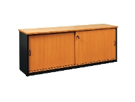 LivingStyles Logan Credenza Cabinet with Locker, 180cm, Beech / Black