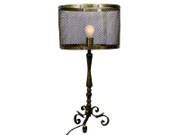 LivingStyles Palti Iron Small Floor Lamp with Shade and Electrics - Brass