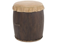 LivingStyles Alamein Cow Hide and Wood Drum Stool