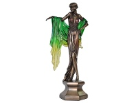 Veronese Cold Cast Bronze Coated Dancer Figurine, Dancing with Green Shawl