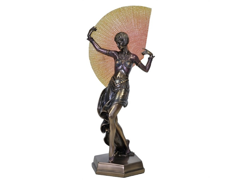 Veronese Cold Cast Bronze Coated Dancer Figurine, Dancing with Yellow Fan