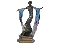 LivingStyles Veronese Cold Cast Bronze Coated Dancer Figurine, Dancing with Blue Shawl