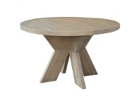 LivingStyles Alvilda Solid Oak Timber Round Dining Table, 130cm, Weathered Oak