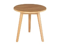 LivingStyles Alex Oak Timber Round Side Table, Natural