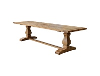 LivingStyles Rimini Oak Timber Trestle Dining Table, 240cm, Natural