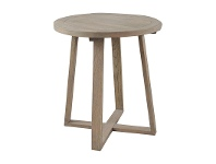 LivingStyles Axel Solid Oak Timber Round Side Table, Weathered Oak