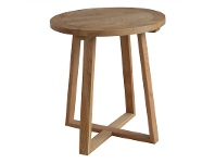 LivingStyles Axel Solid Oak Timber Round Side Table, Natural Oak