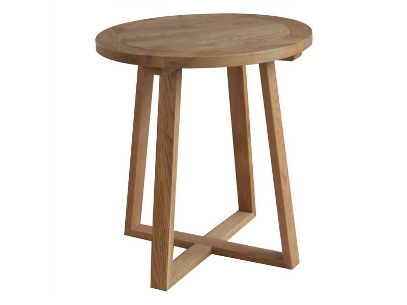 Axel Solid Oak Timber Round Side Table, Natural Oak