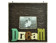 LivingStyles Large Square Wooden Photo Frame with 3D Raised Letters - Dream