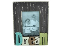 LivingStyles Rectangle Wooden Photo Frame with 3D Raised Letters - Dream
