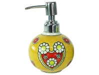 Hand Painted Stoneware Soap Dispenser - Yellow