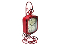 LivingStyles Victoria Red Metal Stand Clock - 24cm