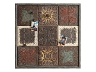 LivingStyles Vintage Embossed Tin Wall Plaque with 4 Magnet Clips