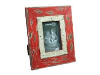 LivingStyles Royan 4x6 Inch Distressed Wooden Photo Frame - Red