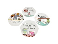 LivingStyles Set of 4 Round Scalloped Edge Stoneware Plates with Saying