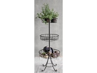 LivingStyles Metal Wired 3 Tier Basket Stand with Curved Legs