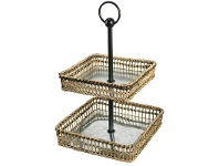 LivingStyles Lavelle Metal and Bamboo Rattan 2 Tier Square Tray