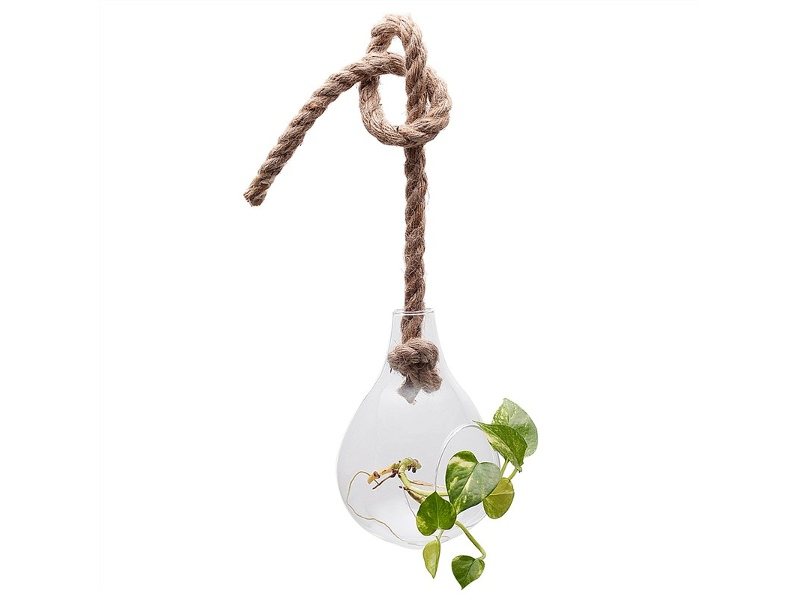 Floretta Petite Hanging Glass Vase with Jute Rope - Small
