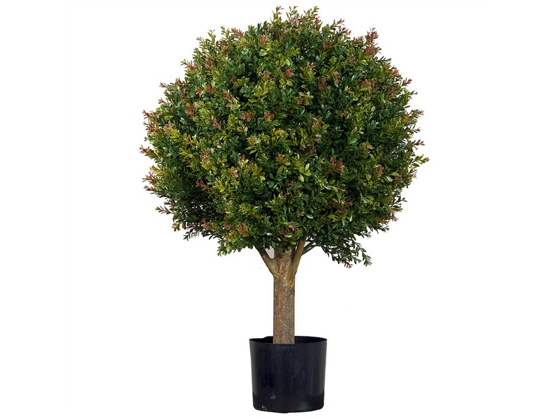 Artificial Red Day Leaf Ball Tree in Pot