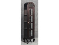 LivingStyles Gaidar Mahogany Timber Single Door Display Cabinet, Large, Chocolate