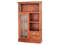 LivingStyles Showa Solid Mahogany Timber 1 Door 2 Drawer Display Cabinet - Light Pecan