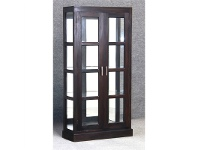LivingStyles Paris Mahogany Timber Mirrored Back Display Cabinet, Chocolate