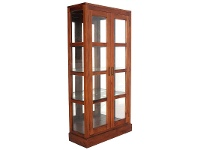 LivingStyles Paris Solid Mahogany Timber Mirrored Back Display Cabinet - Light Pecan