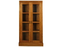 LivingStyles Paris Solid Mahogany Timber Display Cabinet - Light Pecan