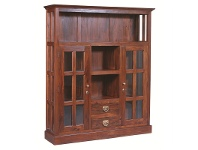 LivingStyles Two Drawer + 2 Glass Door Solid Mahogany Display Cabinet - Mahogany