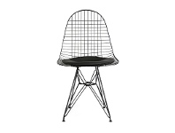 LivingStyles Replica Eames Wire Chair with PU Seat, Black