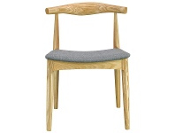 LivingStyles Replica Hans Wegner Elbow Chair with Fabric Seat, Natural / Grey