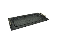 LivingStyles Retro Embossed Metal Tray with Handles - 53.5cm