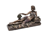 LivingStyles Veronese Cold Cast Bronze Coated Figurine, Reclining Cleopatra