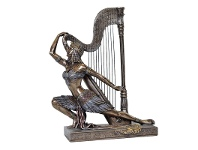 LivingStyles Veronese Cold Cast Bronze Coated Figurine, Egyptian Woman Dancing with Harp