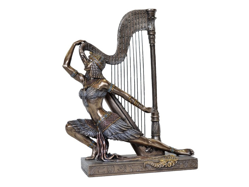 Veronese Cold Cast Bronze Coated Figurine, Egyptian Woman Dancing with Harp